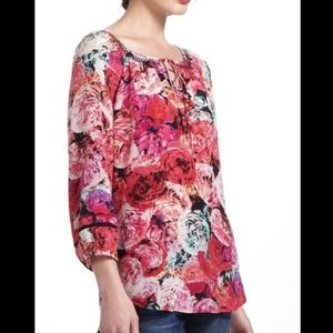 VANESSA VIRGINIA Silk Pink Floral Blouse Top 0969